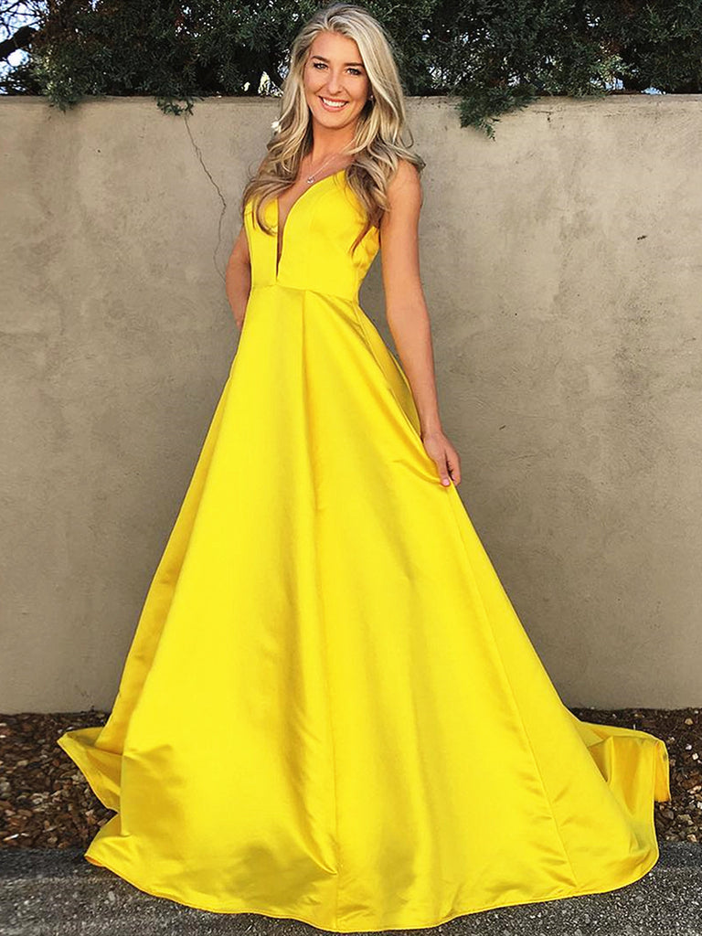 Simple V Neck Floor Length Yellow Prom Dresses, Yellow V Neck Formal Graduation Evening Dresses