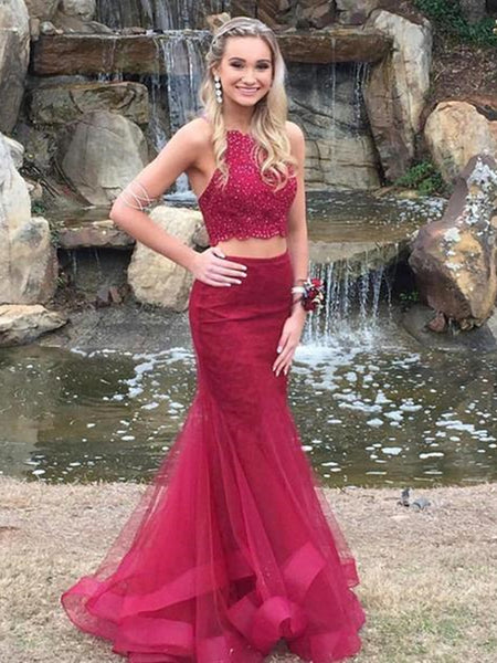 Burgundy 2 Pieces Lace Mermaid Prom Dresses, Burgundy 2 Pieces Lace Formal Dresses, Mermaid Graduation Evening Dresses