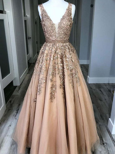 A Line V Neck Champagne Lace Prom Dresses, V Neck Lace Formal Graduation Dresses, Champagne Evening Dresses