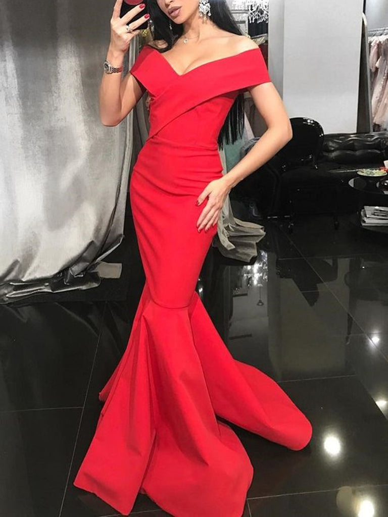 Red Mermaid V Neck Off Shoulder Floor Length Prom Dresses, Mermaid Evening Dresses, V Neck Formal Dresses
