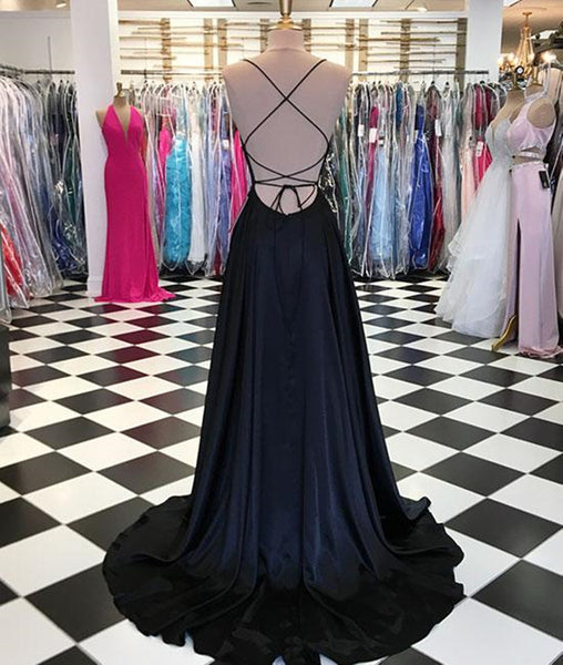 A Line Backless Royal Blue/Black Prom Dresses, Backless Graduation Dresses, Royal Blue Formal Evening Dresses