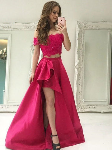 2 Pieces Off Shoulder High Low Lace Prom Dresses, 2 Pieces High Low Lace Formal Dresses, Lace Graduation Evening Dresses