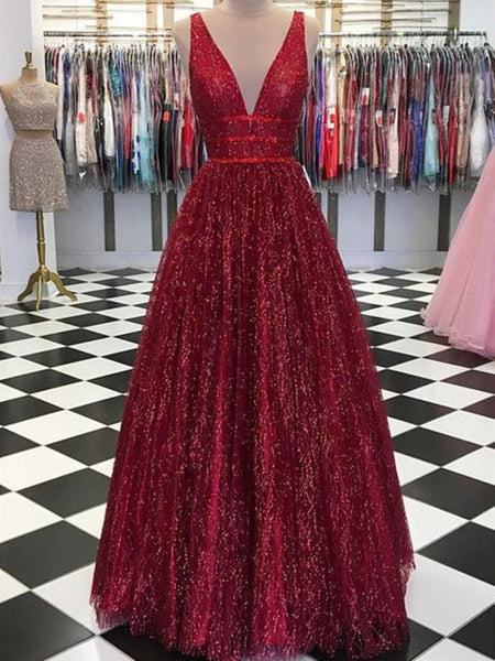 Shiny A Line V Neck Burgundy Prom Dresses, Burgundy V Neck Formal Graduation Evening Dresses
