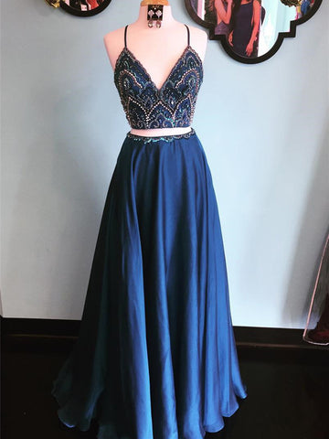 2 Pieces Navy Blue Prom Dress, Dark Blue 2 Pieces Formal Dress, Evening Dress