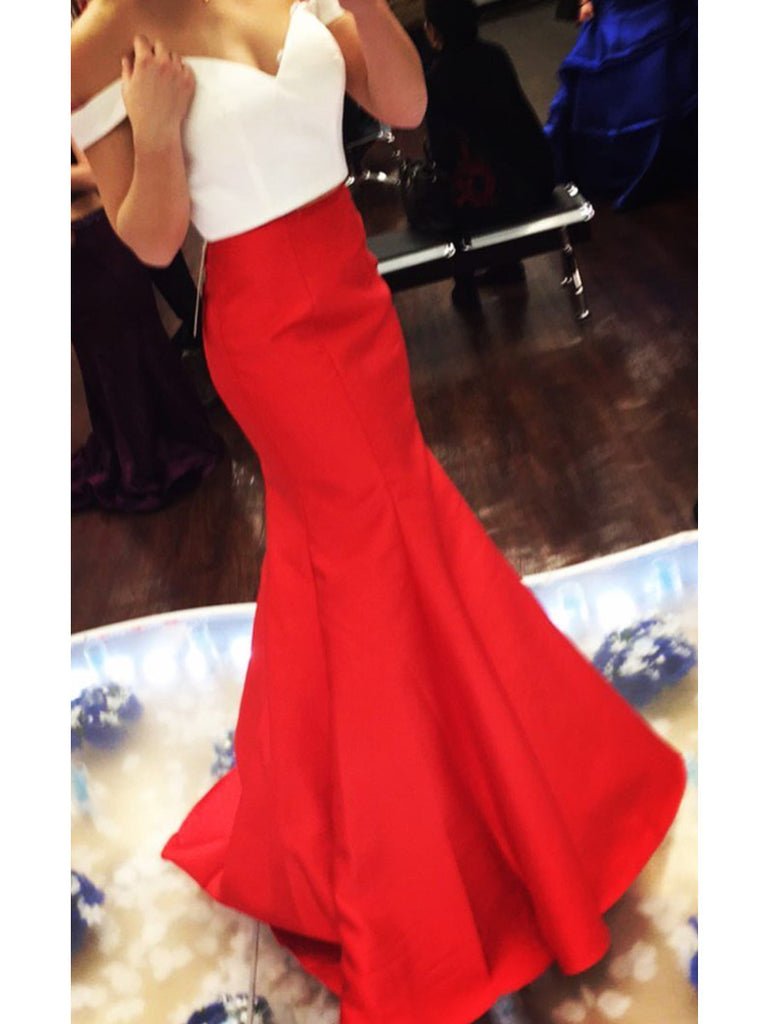 Custom Made White and Red Off Shoulder Mermaid Prom Dresses, Mermaid Formal Dresses