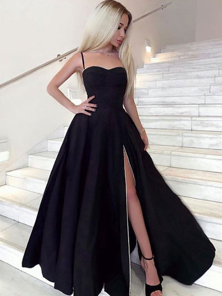 A Line Sweetheart Neck Black Prom Dresses Long, Black Long Formal Graduation Evening Dresses