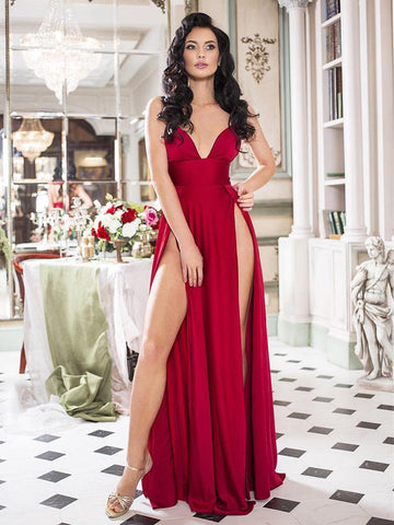 A Line V Neck Burgundy Prom Dress with High Slit, V Neck Burgundy Formal Graduation Evening Dresses