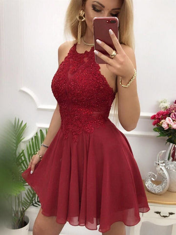 Backless Short Burgundy Lace Prom Dress, Short Burgundy Lace Formal Homecoming Cocktail Dresses