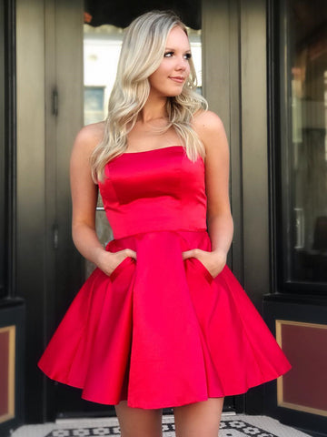 Short Red Prom Dress with Pockets, Short Red Formal Graduation Homecoming Dresses with Pockets