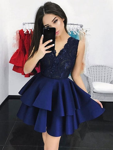 Short V Neck Navy Blue Lace Prom Dresses, Short Navy Blue Lace Graduation Homecoming Dresses