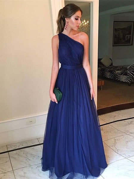 A Line One Shoulder Blue Prom Dresses, One Shoulder Blue Formal Dresses, Graduation Dresses