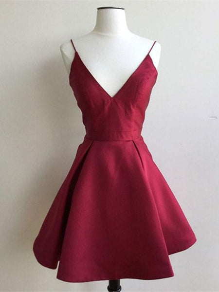 A Line V Neck Short Burgundy Prom Dresses, Short Burgundy Graduation Dresses, Short V Neck Homecoming Dresses