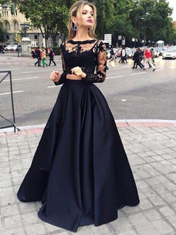 Custom Made Round Neck Long Sleeves 2 Pieces Black Lace Prom Dresses, Black Lace Formal Dresses