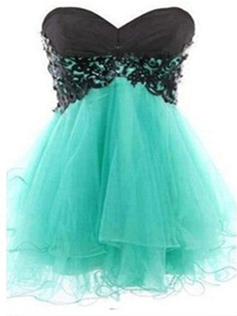 Sweetheart Sleeveless Short Black Lace Green Prom Dress, Homecoming Dress, Graduation Dress