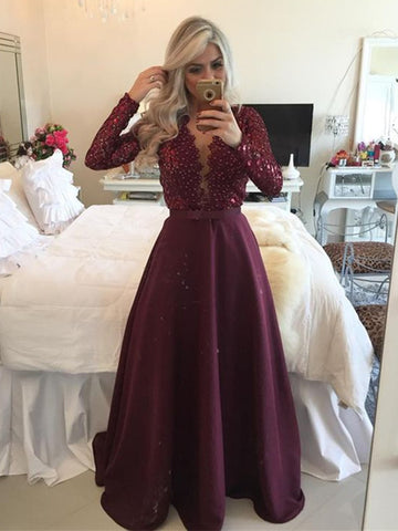 Custom Made A Line V Neck Long Sleeves Maroon Prom Dresses, Maroon Formal Dresses