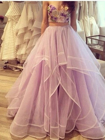 2 Pieces Sweetheart Neck Floor Length Long Prom Dresses, Long Formal Dresses