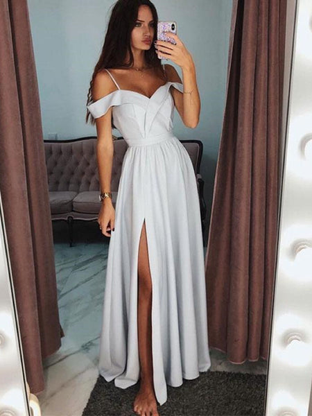Custom Made Off Shoulder Gray Prom Dresses, Gray Formal Dresses with Leg Slit, Gray Graduation Dresses
