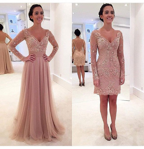 Custom Made V Neck Long Sleeves Lace Wedding Dresses, Lace Short Prom Dresses, Formal Dresses