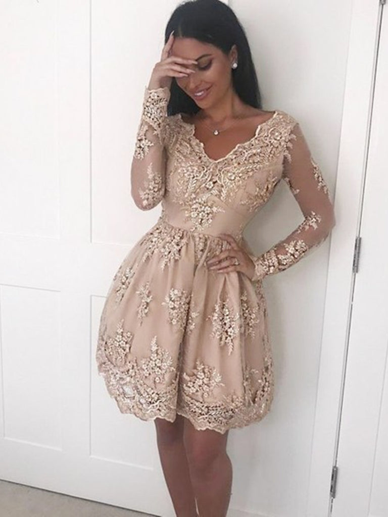 A Line V Neck Long Sleeves Champagne Lace Prom Dresses, Champagne Lace Formal Dresses, Graduation Dresses, Homecoming Dresses