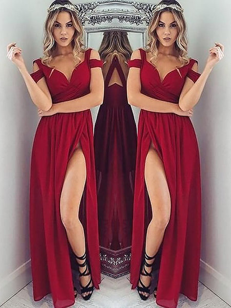 A Line Off Shoulder Burgundy Prom Dresses, Wine Red Off Shoulder Bridesmaid Dresses, Formal Dresses, Burgundy Graduation Dress