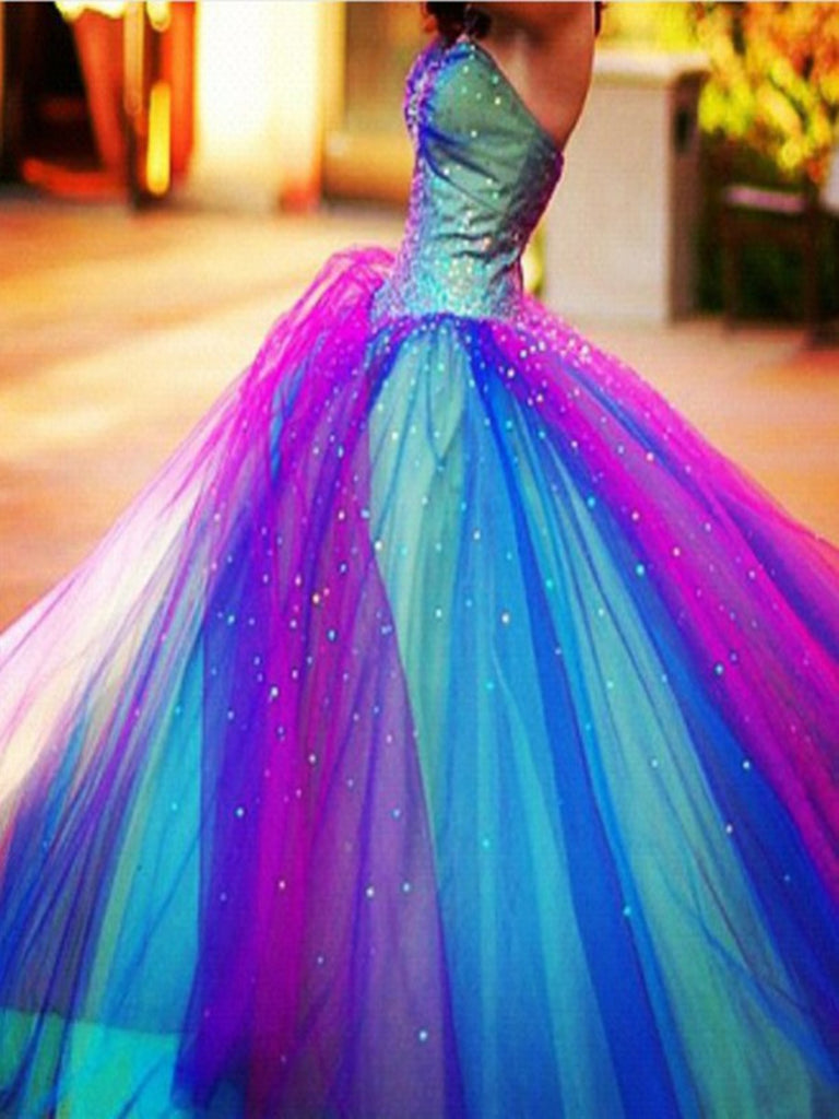 Colorful Floor Length Long Prom Dresses, Colorful Formal Dresses