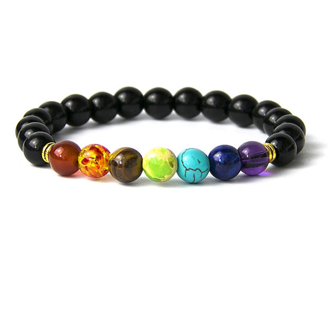 Rainbow Bead Braclet - Black Agate, Red Agate, Blue Agate, Wooden, Hematite, & Moonstone Beads