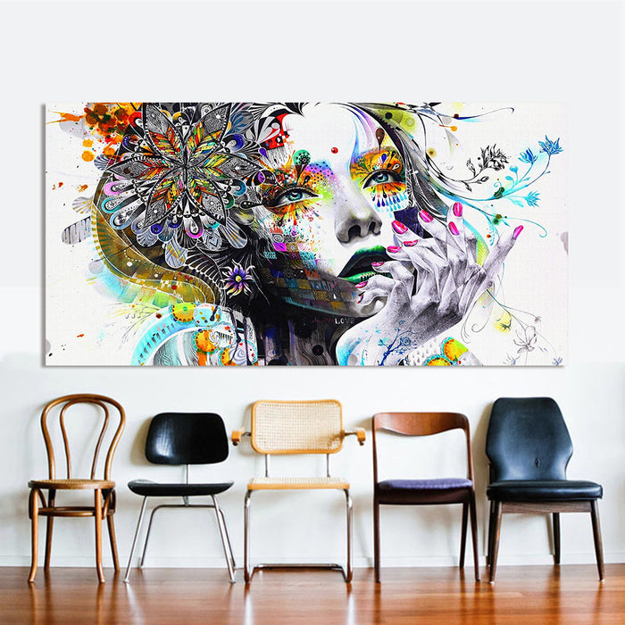 Rainbow Modern Girl Art Canvas Oil Wall Painting 7