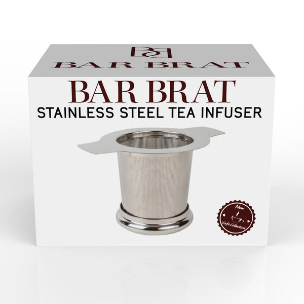Premium Tea Infuser Strainer + Spoon by Bar Brat / Micro Filter Stainless Steel Steeper & Strainer / 110 Cocktail Shaker Ebook Included