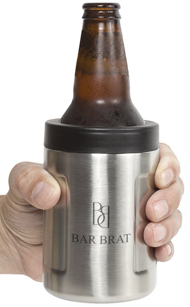 Beer Koozie Can + Bottle Insulator by Bar Brat / Zero Sweat Double Air Vacuum Insulated / 110 Cocktail Recipe Ebook Included