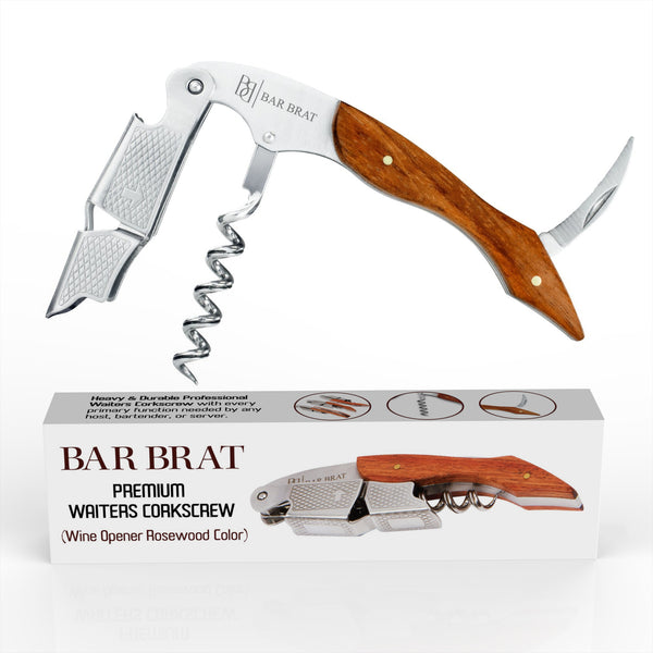 Premium Professional Waiters Corkscrew by Bar Brat (Rosewood) / All-In One Wine Opener With Foil Cutter