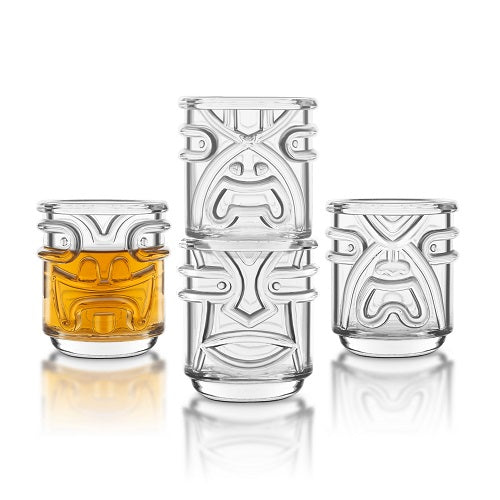 Set of 4 Tiki Tumbler Glasses (Clear)