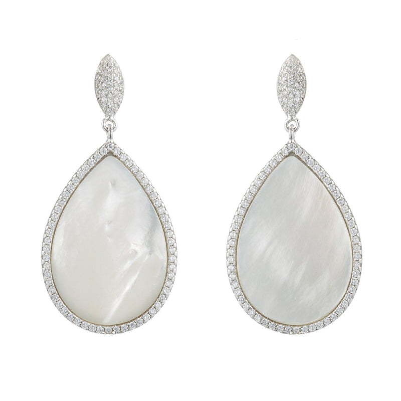 Mother of Pearl Teardrop Earrings with CZ Pavé Halo
