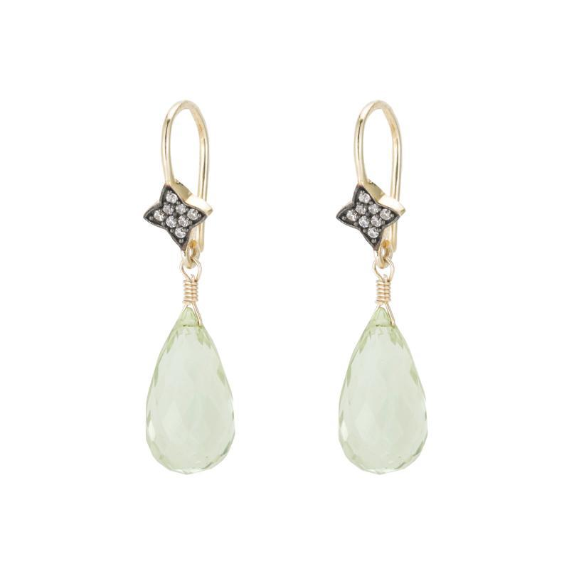 "Shown Green Amethyst, White Topaz and Vermeil, 1.25""L."