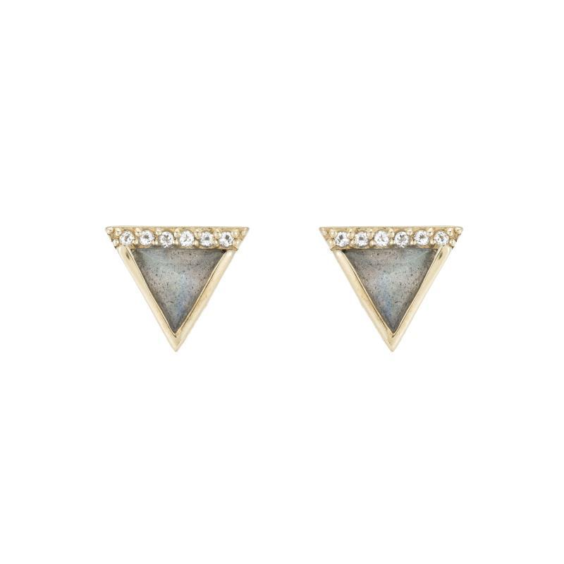 Triangle earrings in black and gold .25""