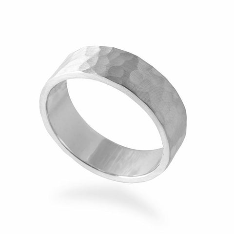 Men's Hammered Wedding Band - Silver