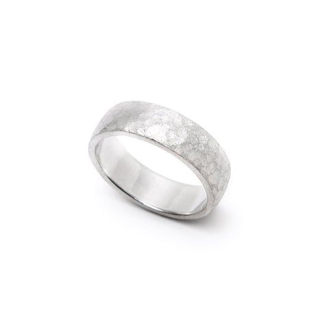 Men's Hammered and Brushed Wedding Band