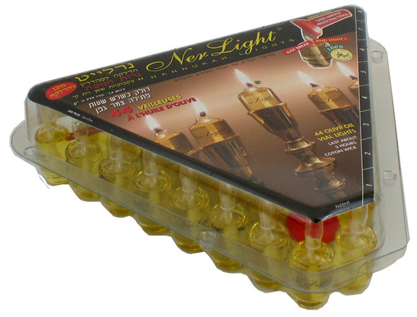 Ner Light Chanuka Lights-Box of 44 olive oil vials