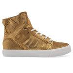 Supra Mens Skytop Hi Top Leather Fashion Sneaker Shoes Gold Black White S18261, Size - 7