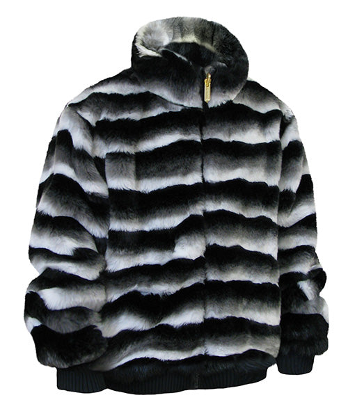 Ablanche Urban Fur Fitter Men's Faux Fur Reversible Jacket 9FJ01 Chinchilla Black White