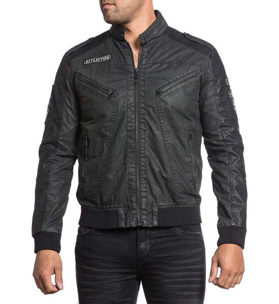 Affliction Mens Black Moon Moto Biker Cotton Jacket 110OW269 Size MEDIUM