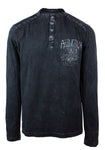 Affliction AC Four Stroke Long Sleeve Henley Graphic Top A19781l Black Lava Wash Size SMALL