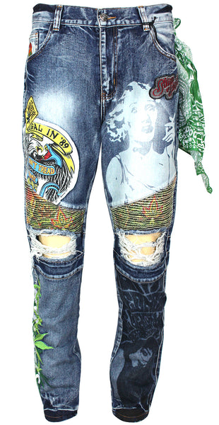 High Times Mens Graphic Printed Distressed Ribbed Moto Jeans 35108 Blue Wash