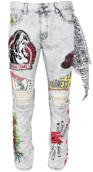 High Times Mens Graphic Printed Distressed Ribbed Moto Jeans 35111 White Wash