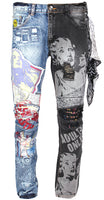 High Times Mens Graphic Printed Distressed Ribbed Moto Two Tone Jeans 35109 Blue Black Wash
