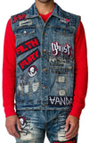 Mens Designer Denim Blue Biker Rock Ripper Vest w Patches Hachimaki Wash 37054