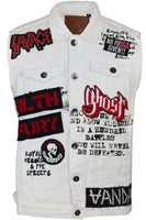 Mens Designer Denim Biker Rock Ripper Vest w Patches White 37054