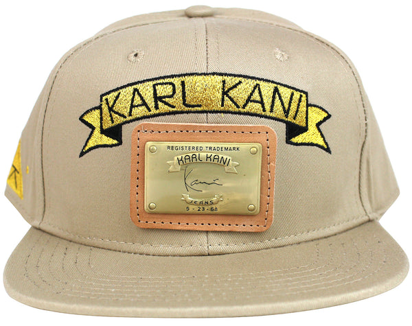 Karl Kani Gold Plate Snapback Embroidered Hat Tan