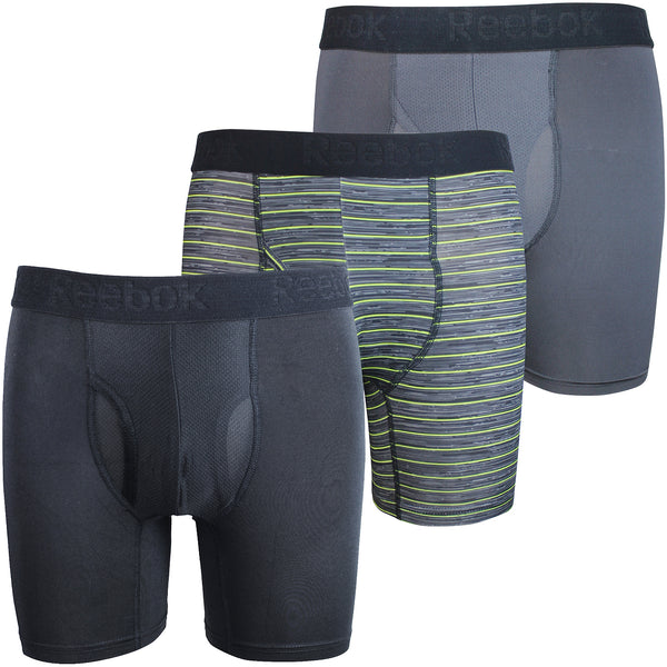 Reebok Mens Performance Training Boxer Briefs Black Lime Green Charcoal Pack of 3