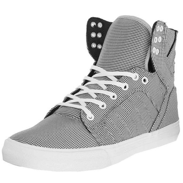 Supra Mens Skytop Hi Top Canvas Fashion Sneaker Shoes Black White Blue Tri-Tone S18257
