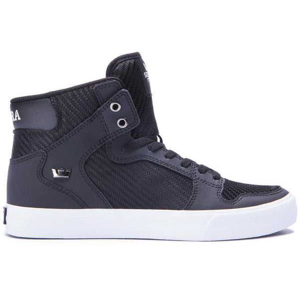 Supra Mens Vaider Hi Top Leather Canvas Fashion Sneaker Shoes Black White 08205-081-M